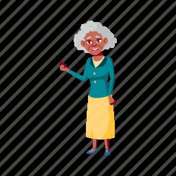 elegant, old, woman, senior, speaking, husband, living