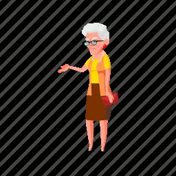 elderly, grandmother, serious, senior, lady, waiting, grandma