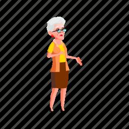 elderly, grandmother, senior, shocked, lady, look, grandma