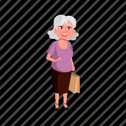 aged, elderly, grandmother, european, lady, senior, shopping