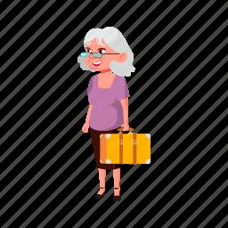 senior, elderly, grandmother, woman, baggage, traveling, grandma