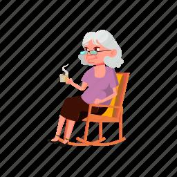 elderly, woman, sitting, drinking, rocking, chair, grandmother