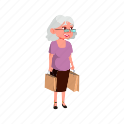 mature, age, granny, woman, buying, products, market