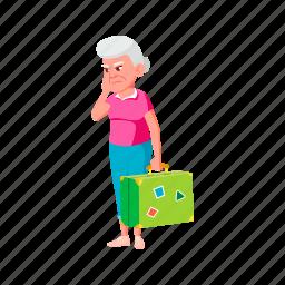 sadness, elderly, grandmother, old, woman, senior, luggage