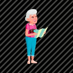 elderly, woman, tourist, photo, camera, searching, grandmother