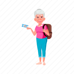 happy, old, woman, traveler, fly, ticket, grandmother