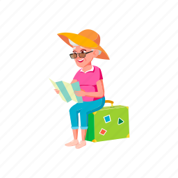elderly, mature, woman, age, sitting, luggage, researching