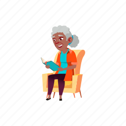 old, african, lady, sitting, senior, armchair, reading