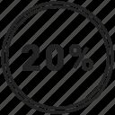 chart, circle, circle chart, pie chart, twenty icon