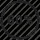 chart, circle, circle chart, pie chart, sixty icon