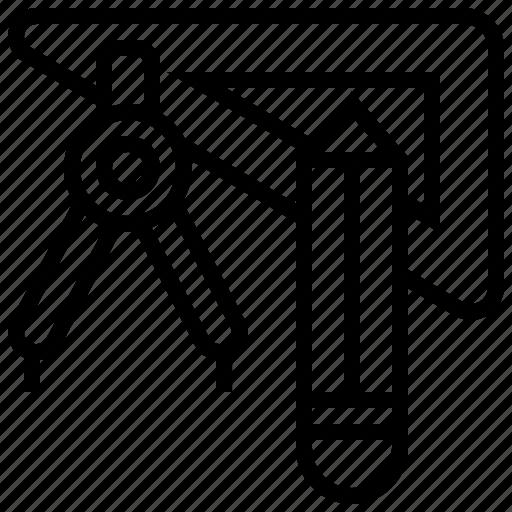 geometric, mathematics, school, stationery, tool icon