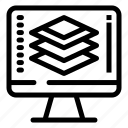 code, programming, screen, share icon