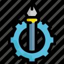 creative, design, development, gear, graphic, pen, setting icon