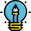 creative, design, graphic, idea, light, lightbulb, pen icon
