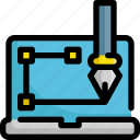 design, edit, graphic, laptop, pen, tools icon