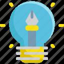 creative, creativity, idea, lightbulb, pen icon