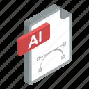 design file, document, file extension, file format, file illustrator icon