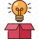idea, creative, bulb, business, light, creativity, box