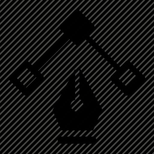 anchor, pen, point icon