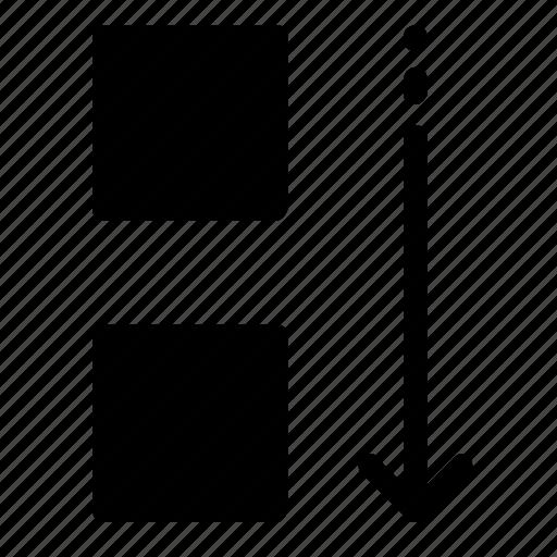 down, move, square icon