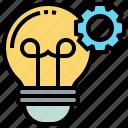 bulb, cogwheel, creative, idea, light