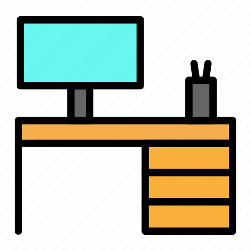 computer, desk, lcd, office, table icon