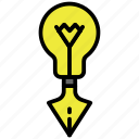 bulb, creative, edit, idea, light, pen tool icon