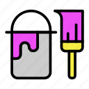 brush, bucket, paint, painting icon