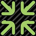 arrow, minimize, navigation, reduce