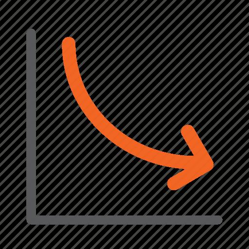 arrow, decrease, down, graph, negative icon