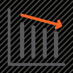 decrease, diagram, down, graph, negative icon
