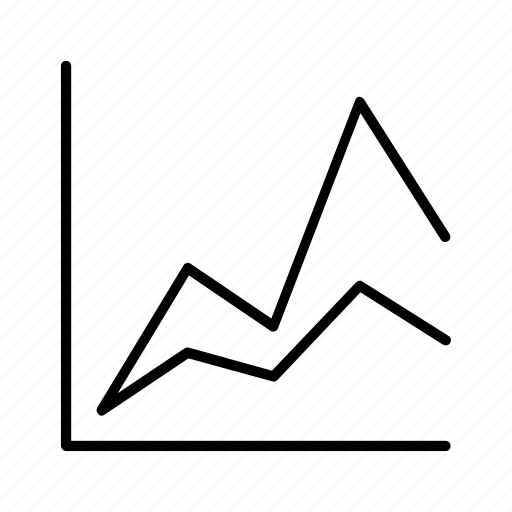 area, chart, double, graph, line, market icon