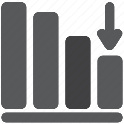 arrow, bar, diagram, down, graph, graphic, report icon