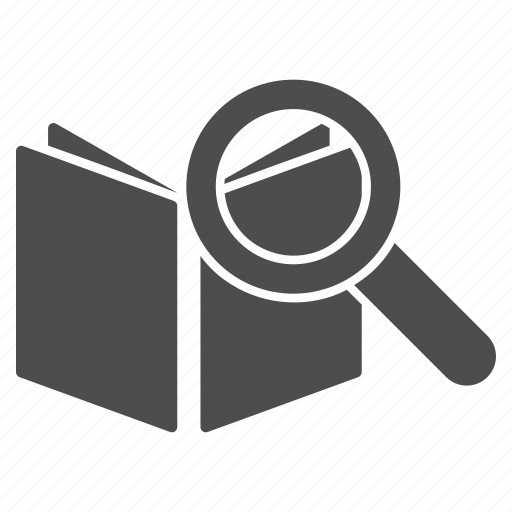 audit, document, education, open file, scan, search text, view book icon