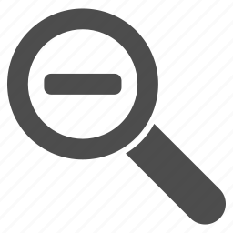 analysis, decrease, explore, magnify, magnifying glass, reduce, zoom out icon