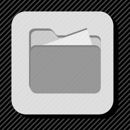 folder, gray, open icon