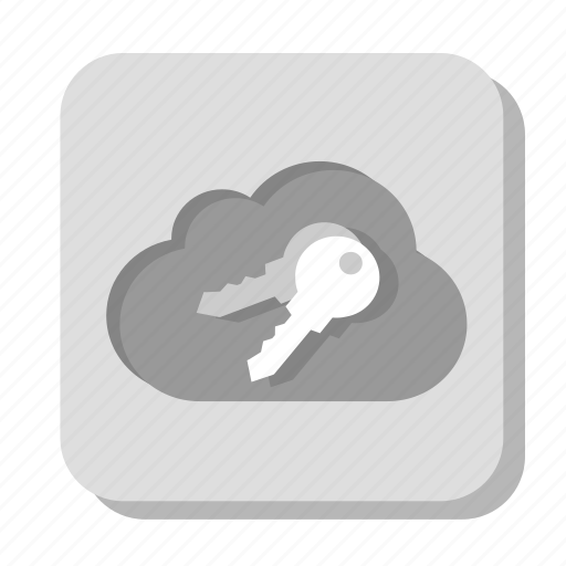cloud, gray, key, pasword, security icon