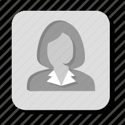account, female, girl, gray, lady, person, profile, user, woman icon