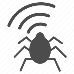 antenna, bug, equipment, microphone, radio, security, signal, spy, viral, virus, warning, wireless icon