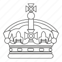 crown, decoration, line, luxury, modern, outline, success icon
