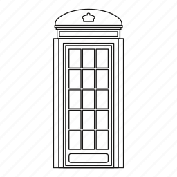 booth, figures, line, outline, phone, sound, tube icon