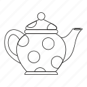 drink, kettle, kitchen, line, outline, tea, teapot icon