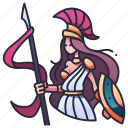 goddess, athena, greece, warrior, god, shield, spear