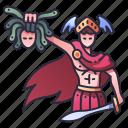 perseus, mythology, medusa, head, warrior, sword, character