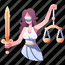 themis, justice, law, goddess, greek, woman, balance icon