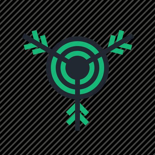 archer, archery, arrow, bow, green, sport, target icon