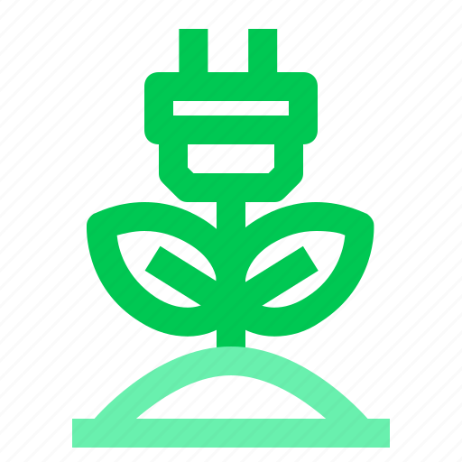 ecology, electricity, energy, green, plant icon