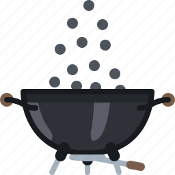 barbecue, briquettes, coal, cooking, grill, pouring, yumminky icon