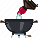 barbecue, bottle, cooking, drop, grill, starter, yumminky icon