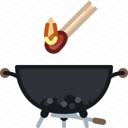 barbecue, briquettes, cooking, fire, grill, matches, yumminky icon